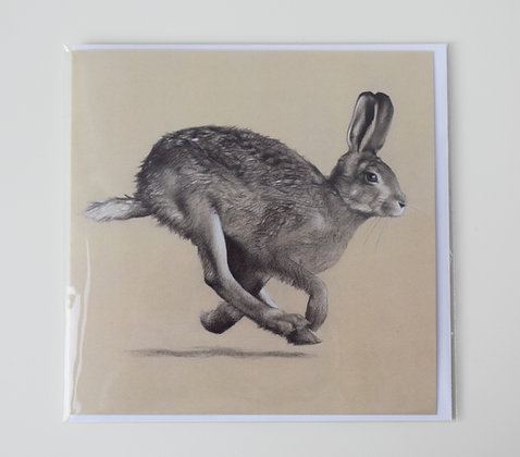 'Young Hare Running' Greeting Card