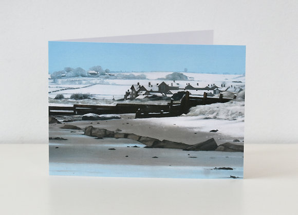 'Alnmouth Beach in Snow' Greeting Card