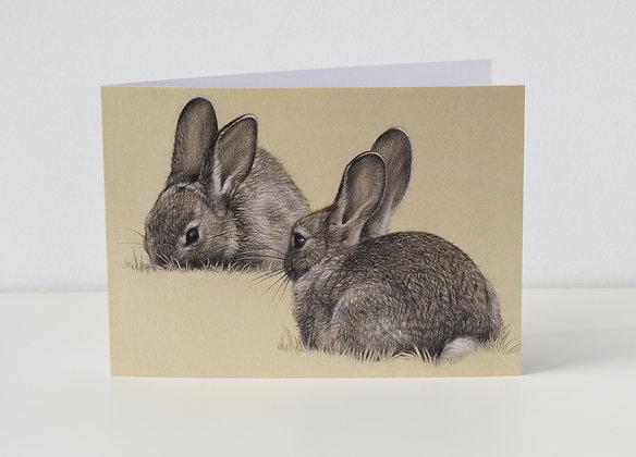 'Grazing Rabbits' Greeting Card