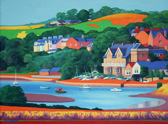 'Houses Overlooking Alnmouth Estuary' Limited Edition Print