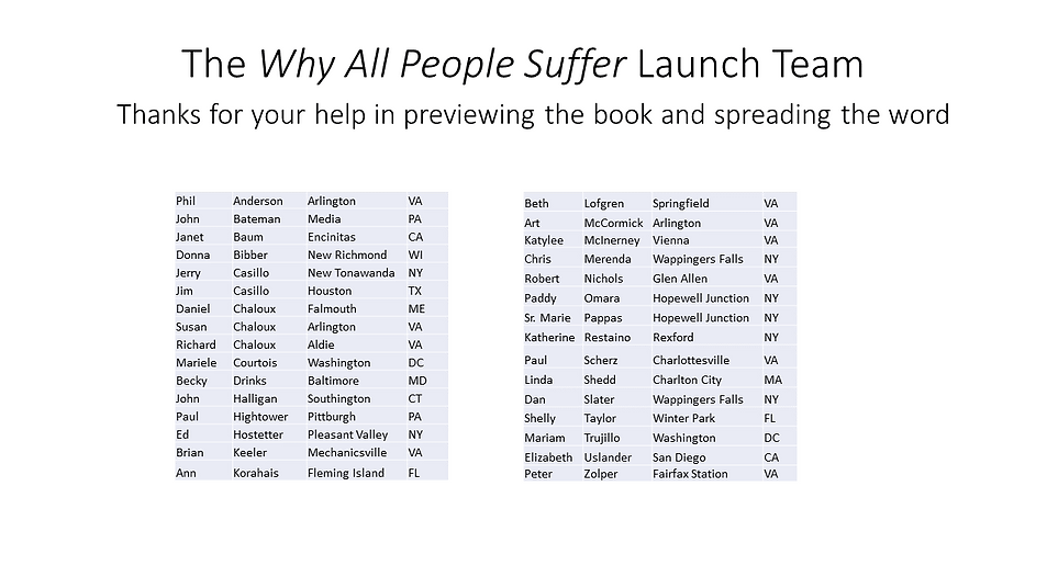 The Why All People Suffer Launch Team.pn