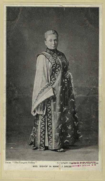 Female Traveler Isabella Bird Bishop wears Manchu dress