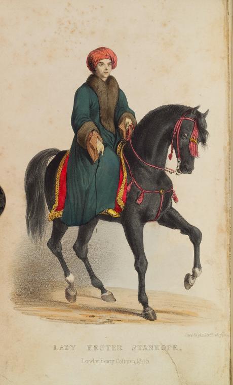 Female explorer and diplomat on horseback