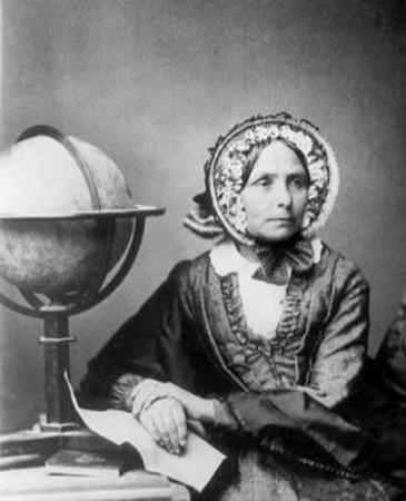 Ida Pfeiffer, writer and naturalist, poses next to a globe