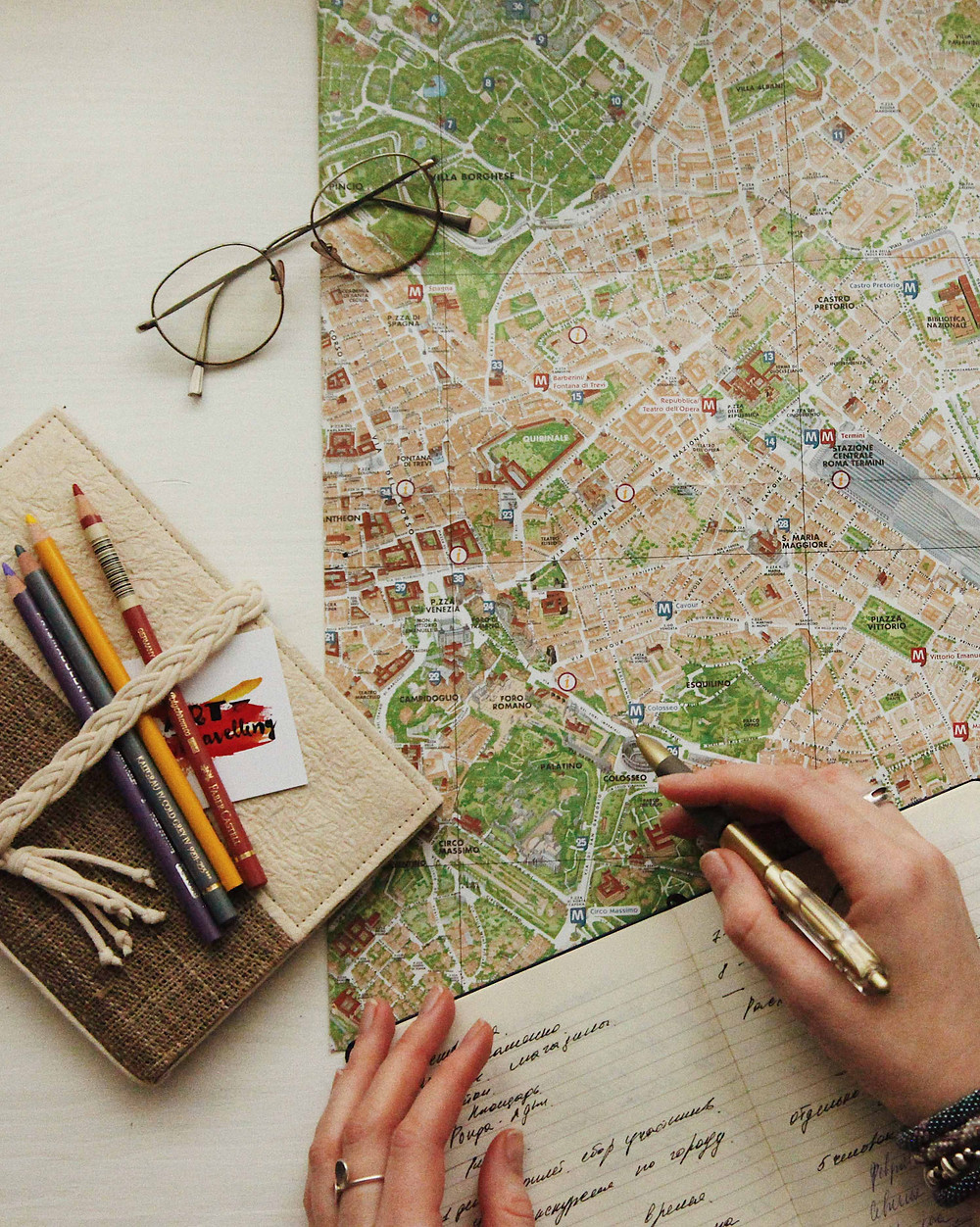 A map, notebooks, pencils, and a travel diary