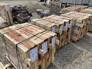 Upright memorials in crates