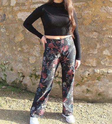 Pantalon droit fleuri