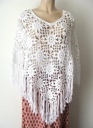 Poncho au crochet 100% coton