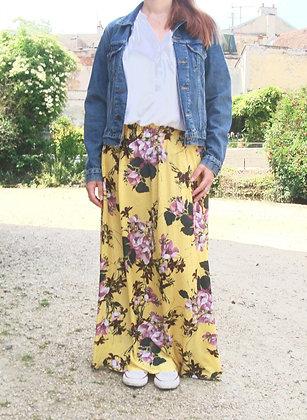 Jupe longue fleurs sur fond jaune