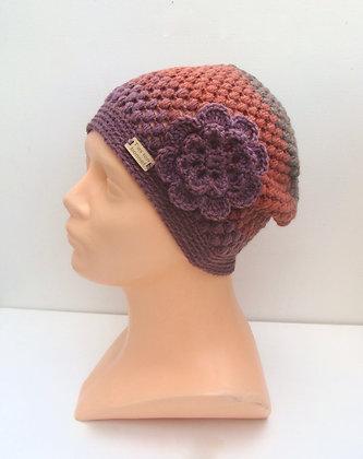 Bonnet rayé avec fleur amovible