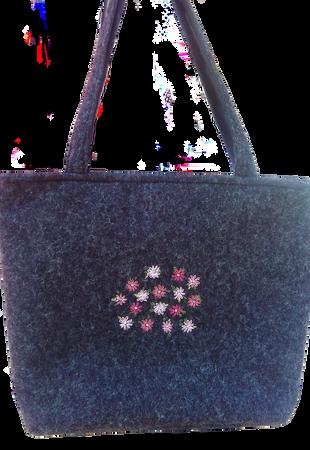 Shopper mit Garn- und Perlen-Stickerei