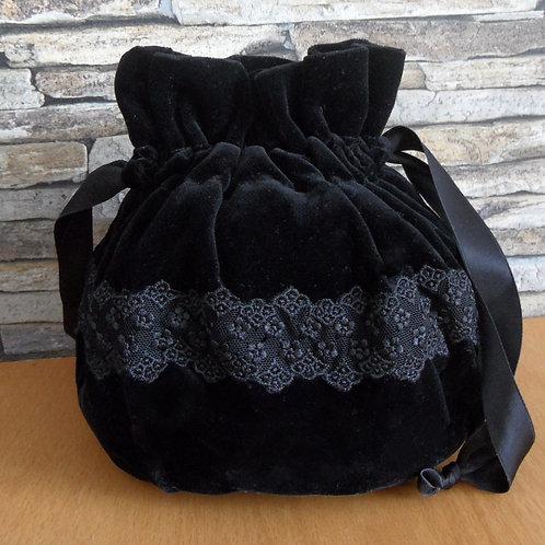 Trachten-Beutel rund, aus Samt, schwarz, mit Spitze