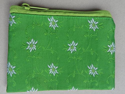 Geldbörse Apfel-grün, mit gewebtem Edelweiß-Muster