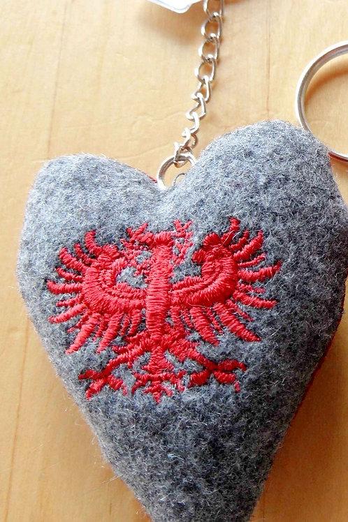Schlüssel-Herz mit Adler-Stickerei
