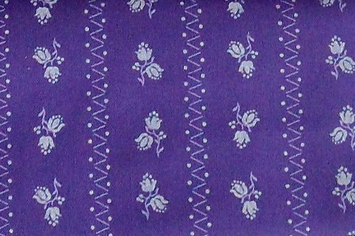 Maske dunkel-violett, Blumen-Druck weiß