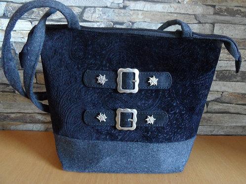 Henkel-Tasche mit Präge-Samt schwarz und Leder-Riemen-Schnallen