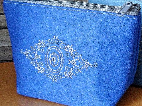 """Utensilien-Tasche mit Stickerei - Ornament """"Spitz-Raute"""""""