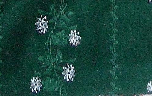 Maske dunkelgrün mit Ranken-Druckgrün und weiß