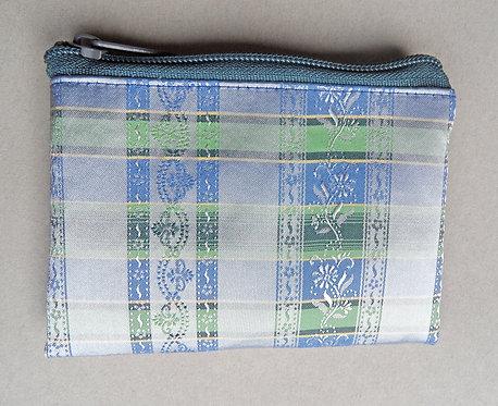 Geldbörse hellblau-hellgrün, gewebtes Muster