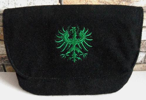Dirndl- oder Gürtel-Tasche schwarz mit Klappe, Adler-Stickerei