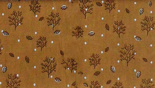 Maske Bäume, Blätter, Schnee, ocker-braun-weiß