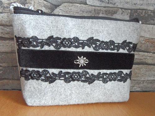 Kordel-Tasche Spitze und Samtband schwarz