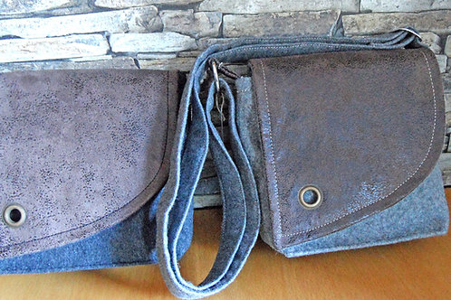 Riemen-Tasche mit Klappe aus Büffelleder-Imitat braun