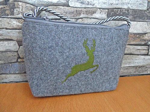 Kordel-Tasche mit Hirsch-Stickerei