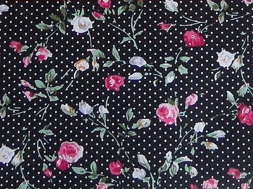 Maske schwarz mit  weißen Tupfen, Rosen-Druck in rosa-pink, lindgrün, creme