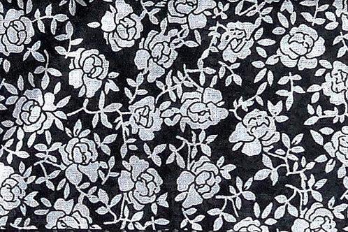 Maske schwarz mit Blumen-Druck weiß