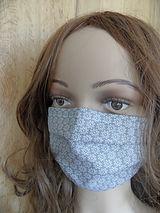Mundschutz Baumwolle hellgrau mit Sternc