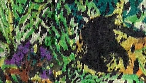 Maske mit Dschungel-Druck, weiß-schwarz-Gelb- und Grün-Töne-lila