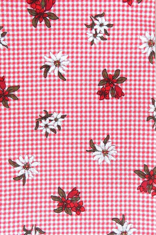 rot-weiß, mit Karo und weiß-rot-olivgrün bedruckt
