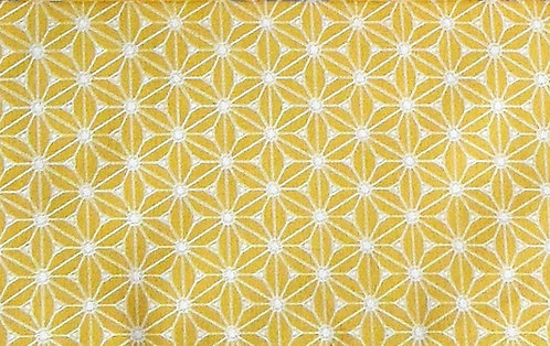 Maske Honig-gelb, natur-weiß bedruckt