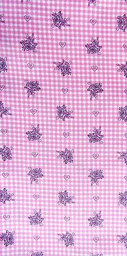 Pink-weiß, bedruckt mit Karo, Herzen und Rosen in aubergine