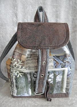Rucksack Canvas bedruckt und Loden grau