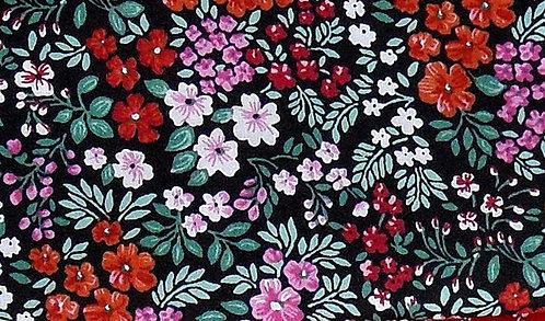 Maske schwarz, Blumendruck weiß, lindgrün, rosa, pink, orange, rot