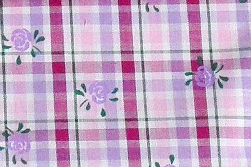Maske Karo gewebt, rosa-pink-flieder, Blumen-Druck grün-flieder