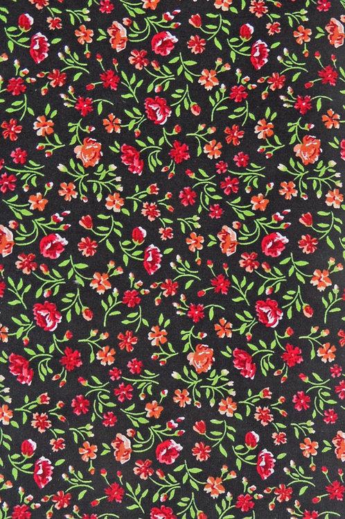 schwarz, bedruckt in hellgrün, orange, rot