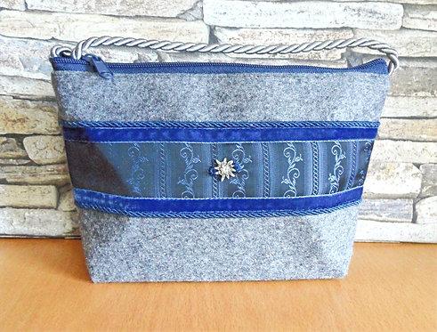Kordel-Tasche mit Samtband, Trachten-Seide und Strass-Edelweiß