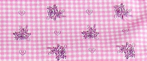 Maske bedruckt, Karo rosa-weiß und Rosen dunkel-violett