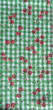 Karo grün-weiß mit Rosen-Druck rot-grün
