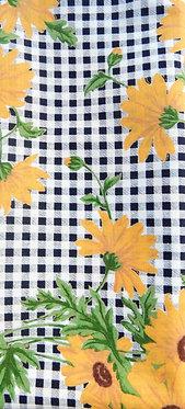 weiß-dunkelblau, Sonnenblumen gelb und grün