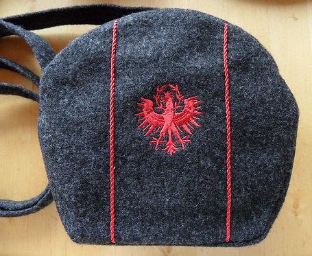 Kugeltasche anthrazit mit Adler-Stickerei