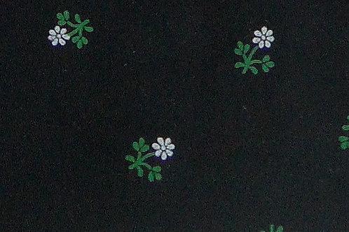 Maske schwarz mit Blumen-Druck grün und weiß