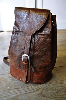 sac vintage cuir 80's face