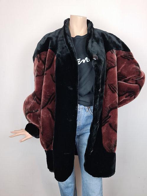 Manteau imitation fourrure noir et brun 80's
