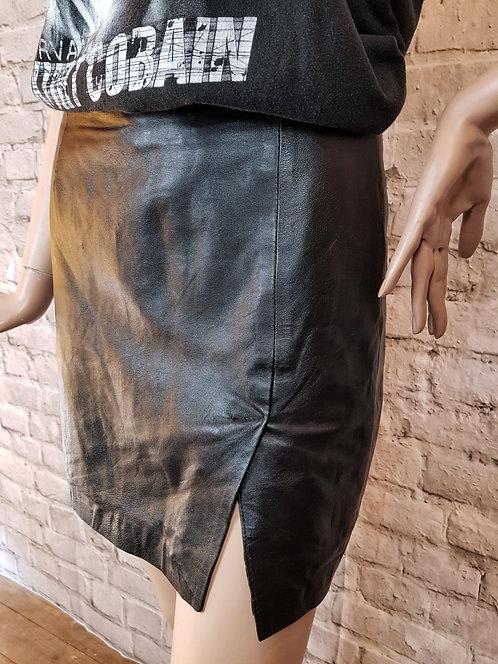 Mini jupe fendue en cuir 90's