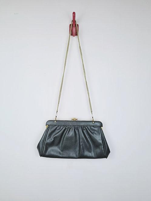 Petit sac gris chaînette dorée 80's