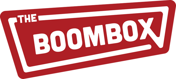 The Boombox logo combines both modern and retro design elements. Modern comes through in the typographic choice while the assymetrical shape of the box and movement of the line leans towards a retro sign. Movement, abstract boombox
